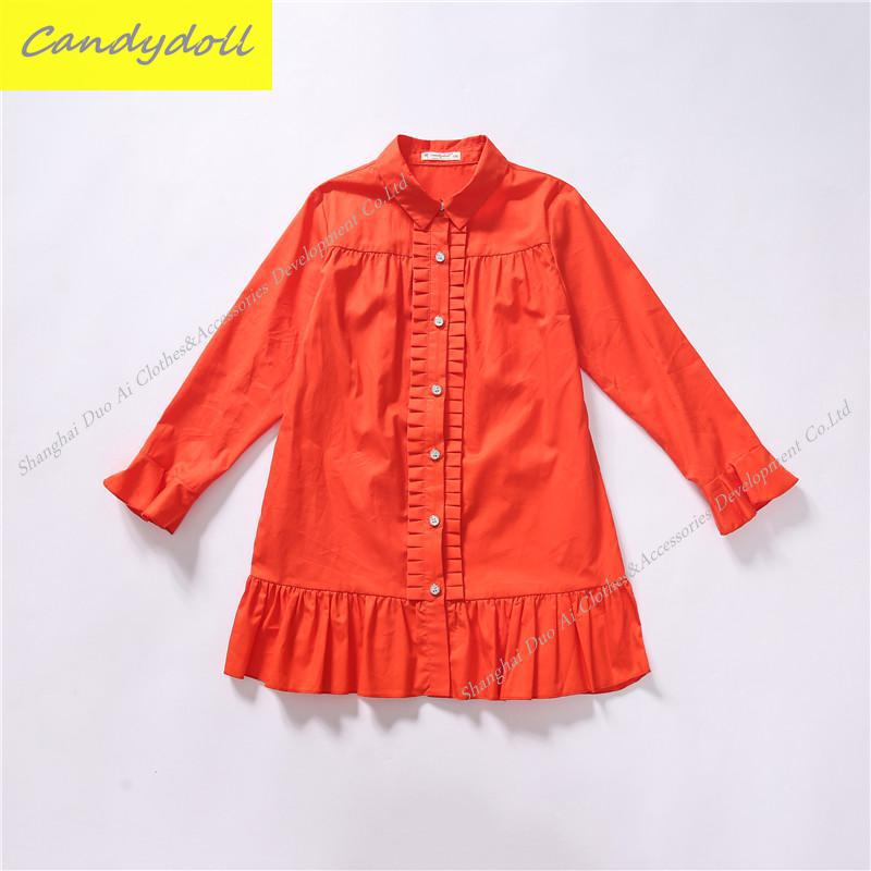 Free Shipping New arrival Spring/Fall Dress 100% Cotton Red Color Long-Sleeve Dress Girl Princess Dress 4-10Y new year spring 2016 new corduroy pleated dress dress red princess dress
