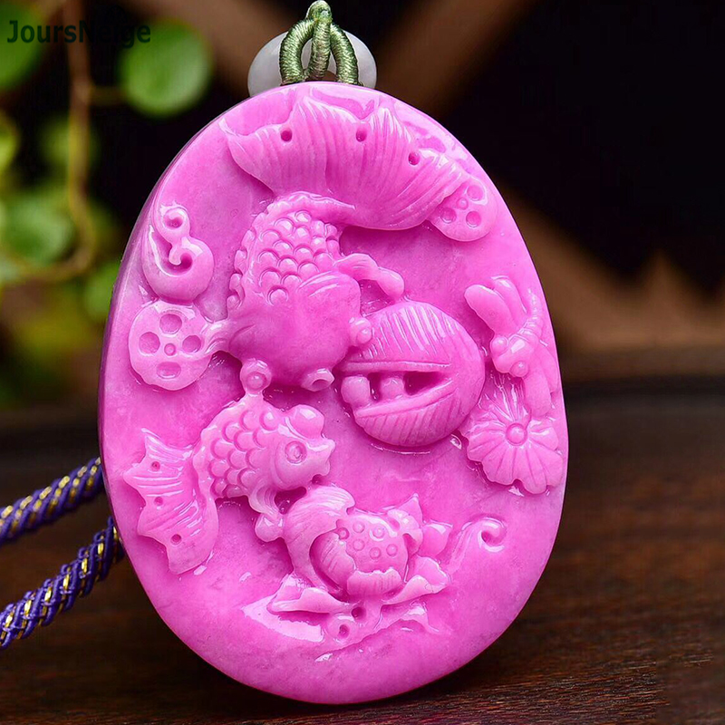Fine Pink Scarce Ore Natural Stone Pendant Carved Fish Pendant Necklace Beauty Lucky for Women Girl Blessing Gift Stone Jewelry деревянная резная фигурка nine fish blessing jh 1025