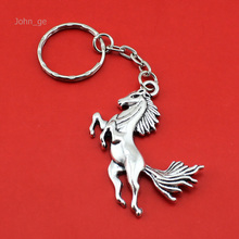 New Hot Selling Women/Men's Fashion Handmade Vintage Silver Horse Key Chains Key Rings Alloy Charms Gifts YS4425 Wholesale