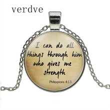 Encouragement Bible Quote Pendant I can do all things through him who give me strength Verse Necklace Gift for Christian the lord is near all who call ont to him bible verse psalm quote key chain glass jewelry christian pendant keyring keychain gift