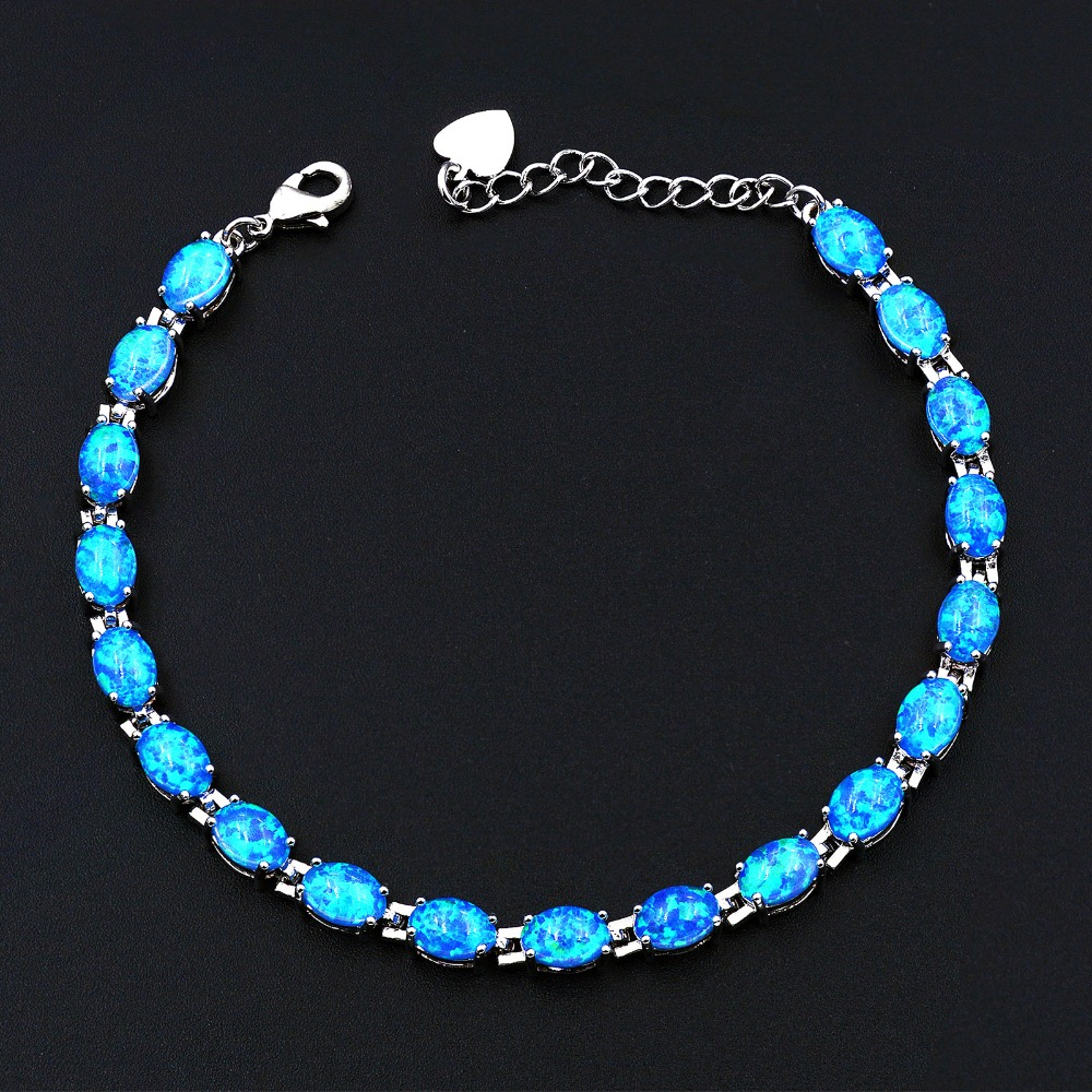 Ocean Blue Pearly White Cosmic Black Opal Bracelet With Japanese Lab Created Opal