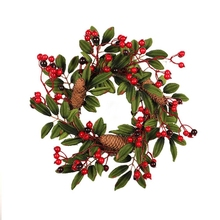 Венок из искусственной пены с натуральным сосновым конусом, Настенный декор, венок 40 см, Рождественский венок, украшение двери