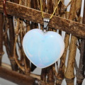 Free shipping natural white opal moonstone heart pendant women top quality vintage fashion jewelry making 2pcs B1838