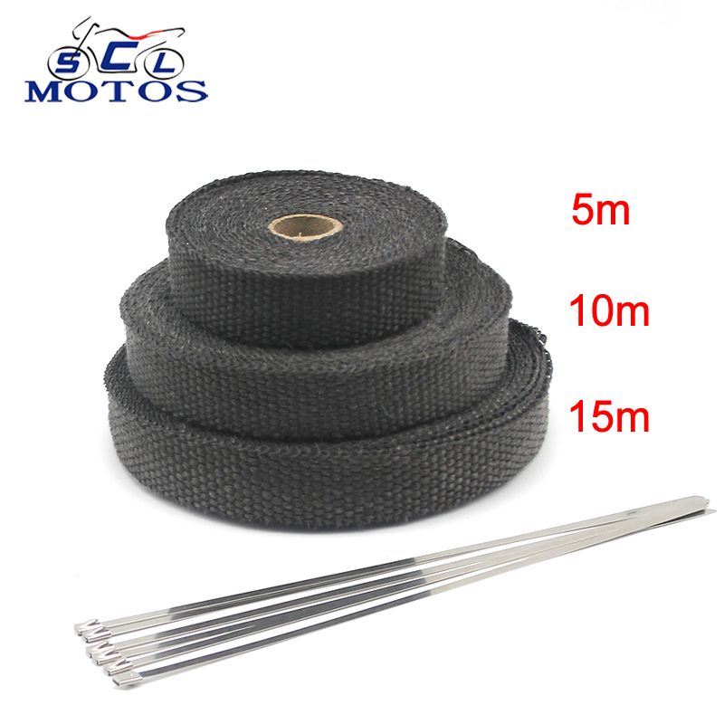 Sclmotos-5 10 15M Motorcycle Fiberglass Heat Shield Tape with Stainless Ties Wrap Resistant Downpipe for Motorcycle Exhaust Car(China)