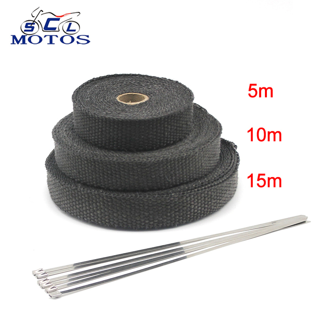 Sclmotos-5 10 15M Motorcycle Fiberglass Heat Shield Tape with Stainless Ties Wrap Resistant Downpipe for Motorcycle Exhaust Car