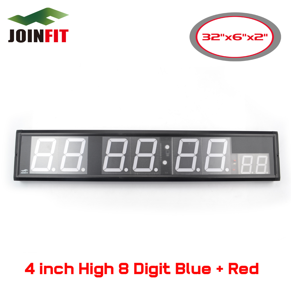 Crossfit интервальные тренировки таймер 4 дюймов 8 цифр синий и красный настенные часы W/remote Управление (32 х 6 x 2 )