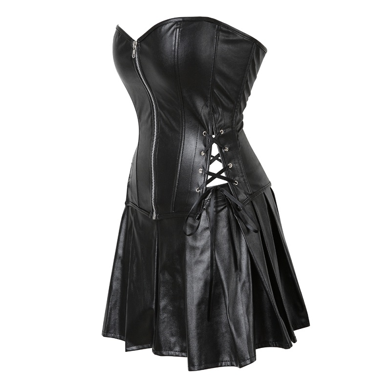 Plus Size S 6XL Black Zipper PU Leather Corset Bustier Dress set Overbust Sexy Lingerie Women Lace Up Corselet Tops Skirt Thong in Bustiers Corsets from Underwear Sleepwears