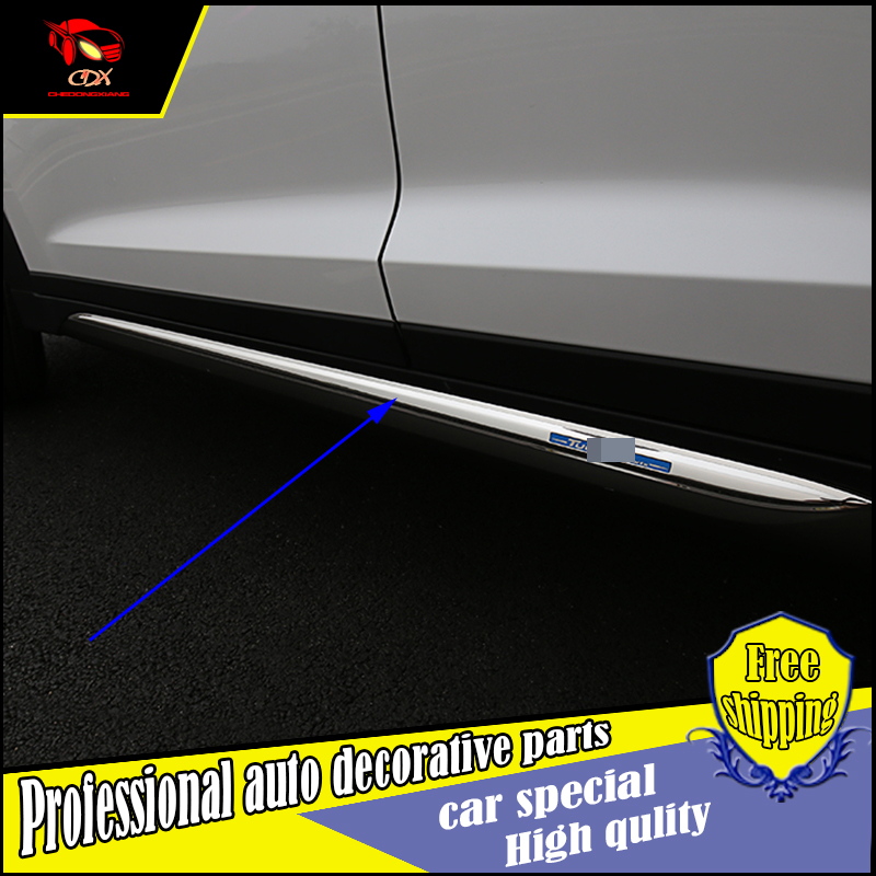 NEW ACCESSORIES FIT FOR Hyundai Tucson 2015 2016 2017 SIDE DOOR BODY GARNISH MOULDING Skirt COVER Trim PROTECTION CAR STYLING