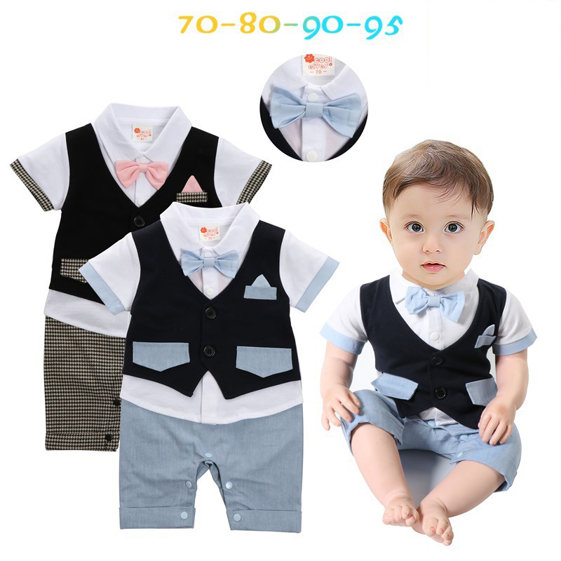 Summer Short Sleeve Romper for Baby Boys Cow Houndstooth Gentleman Boy Suits Toddler Jumpsuits Children Clothing Set for 0-2Y