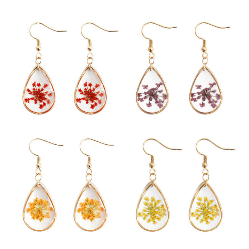 Dried Flowers Earrings Resin