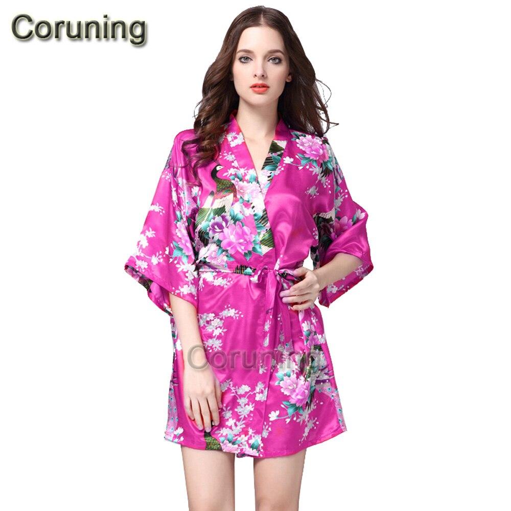 ⊹Rb012 verano estilo mujeres floral impreso seda Albornoces dama ...