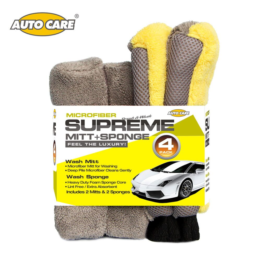 4PCS/Set Car Cleaning Microfiber Mitt&Sponge Car Washing Waterproof Glove Super Thick Fo ...