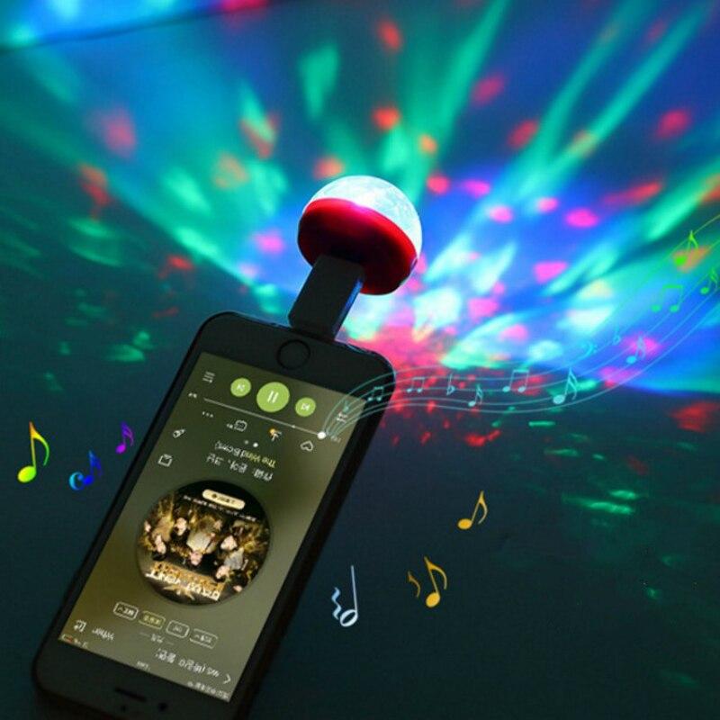 Mini Android V8 Disco Light Portable home party light DC 5V V8 Disco Ball Powerful light effect Small Size Mobile Phone light