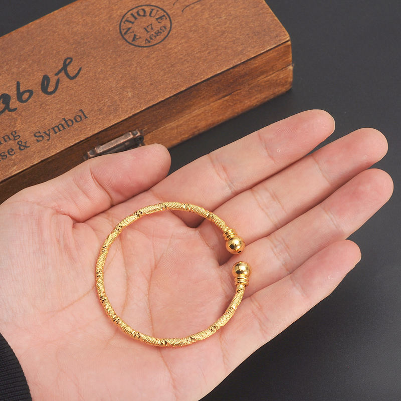 Small Lovely 24k Gold Dubai Africa Bangle Arab Jewelry Charm S India Anklet Bracelet For Kidsbaby Birthday Gift In Bangles From
