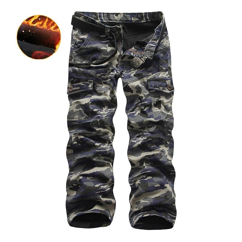 ICPANS Fleece Warm Cargo Pants Men Camouflage Loose Track Pants Men Winter Tactical Mens Trousers Loose Men's Clothes Military