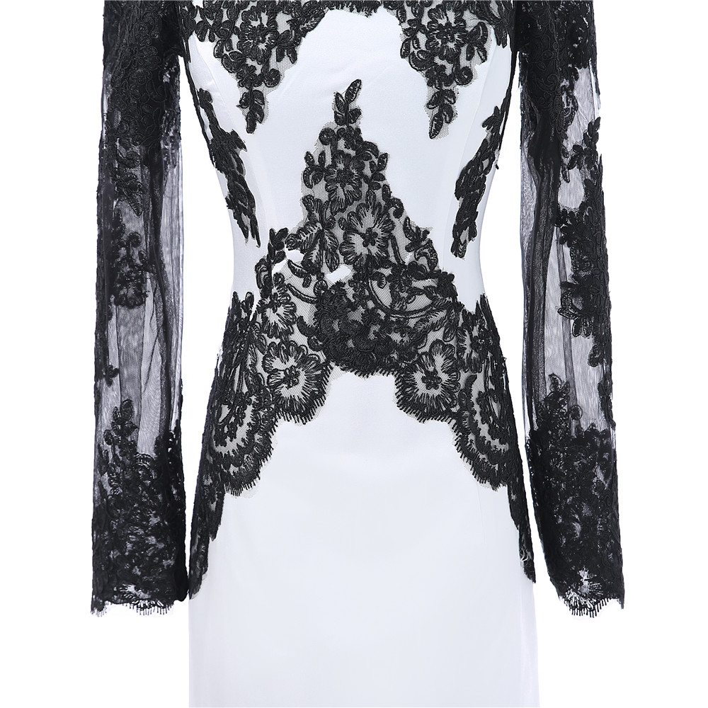 Black White Sheath Long Sleeves Knee Length Satin Appliques Lace Elegant Cocktail Dress
