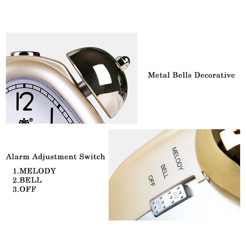 POWER Alarm Clock Twin Bell Carton Non-Ticking Quartz Music Alarm - Dekorasi rumah - Foto 5