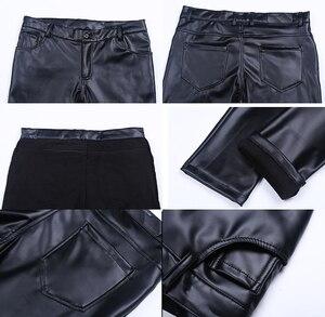 Image 5 - Idopy男性のビジネススリムフィット5ポケットストレッチ快適なブラックソリッドフェイクレザーのズボンのジーンズ男性