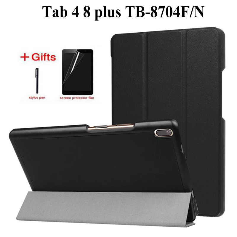 Slim Magnetische PU Leather Case voor lenovo tab 4 8 Plus TB-8704x TB-8704F Tablet cover voor lenovo tab 4 8 plus case + film + Pen