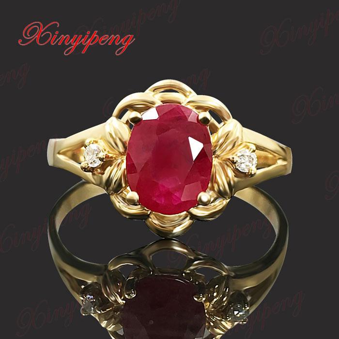 18 k goud ingelegde natuurlijke robijnrode ring om diamant te - Fijne sieraden