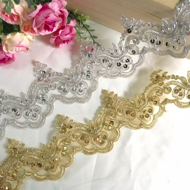 3 Yard /Lot Sequins beads Gold silver diy clothes accessories lace trim  embroidery lace fabric