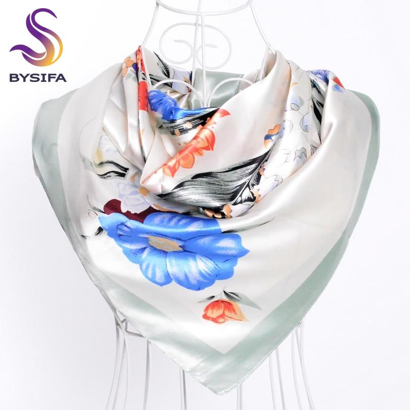 [BYSIFA] Female Silk Scarf Fashion Accessories Satin Women Scarf New Design Beige Blue Silk Shawl 90*90cm Spring Autumn Scarves