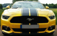 Free shipping Black Accent Dual Rally Stripes Graphics Vinyl Decals For Ford Mustang Full Body