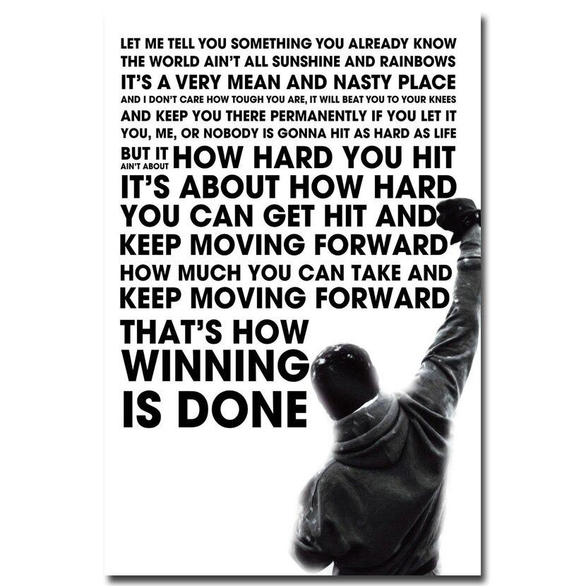 Rocky Balboa Motivational Quote Art Silk Poster Print 12x18