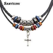 Samyeung Bohemian Style Leather Women Maxi Necklaces & Pendnat Beads Necklace for Male Best Friends Choker Necklaces