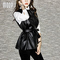 Negro PU chaleco delgado falso chaleco de piel de cordero de cuero cintura ajustable decoración veste femme gilet colete chalecos mujer LT314