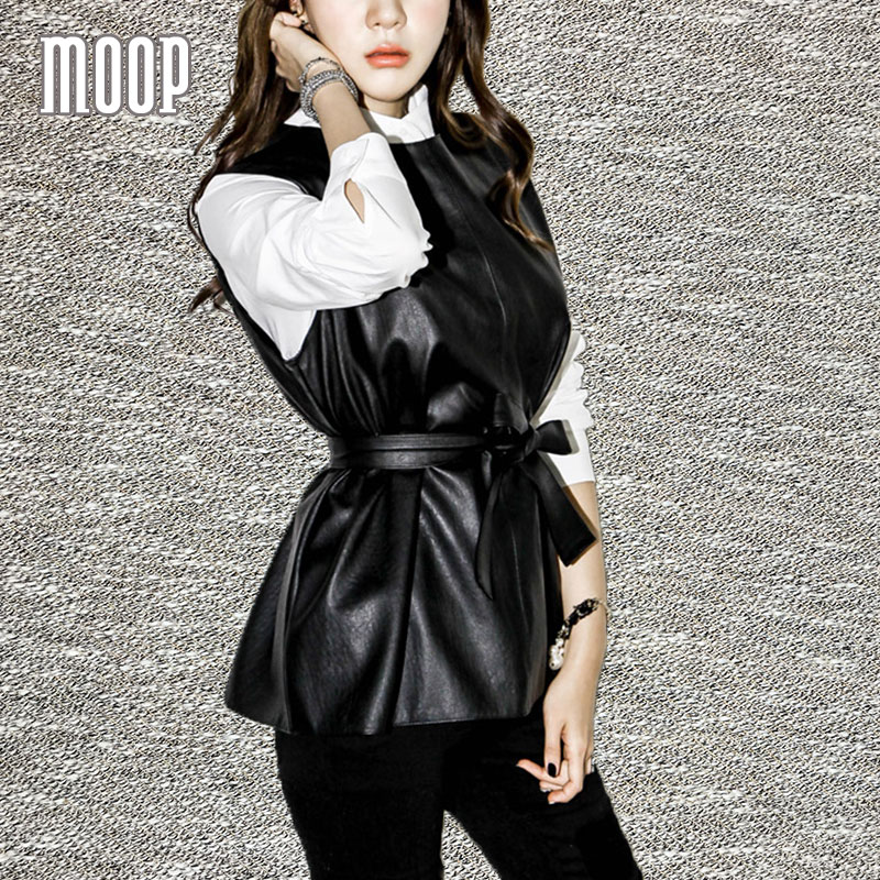 Noir PU en cuir gilet mince faux agneau en cuir gilet réglable taille décor  veste femme chalecos mujer colete gilet LT314 a5deb159685