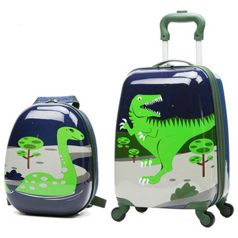 BeaSumore Children Rolling Luggage Set Backpack Kid Suitcase Wheels Cute Cartoon Trolley Case 20 inch Carry