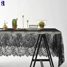 SunnyRain 1-Piece Black Lace Tablecloth Crochet Christmas Table Cloth for Dining Rectangle Cover