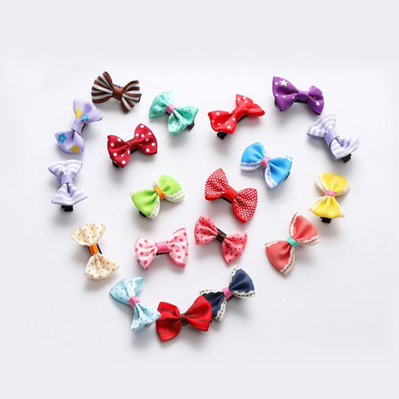 10PC Small Dogs Bow Hair Grooming Puppy Accessories Supplies For Pet Hair Clip Grooming Yorkshire Bowknot Headdress Color Random