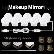 LED Dressing Mirror Lamp With Dimmer Switch Hollywood Style Vanity Light 8W 12W 16W 20W Makeup Table Decoration LED Bulb USB 12V(China)
