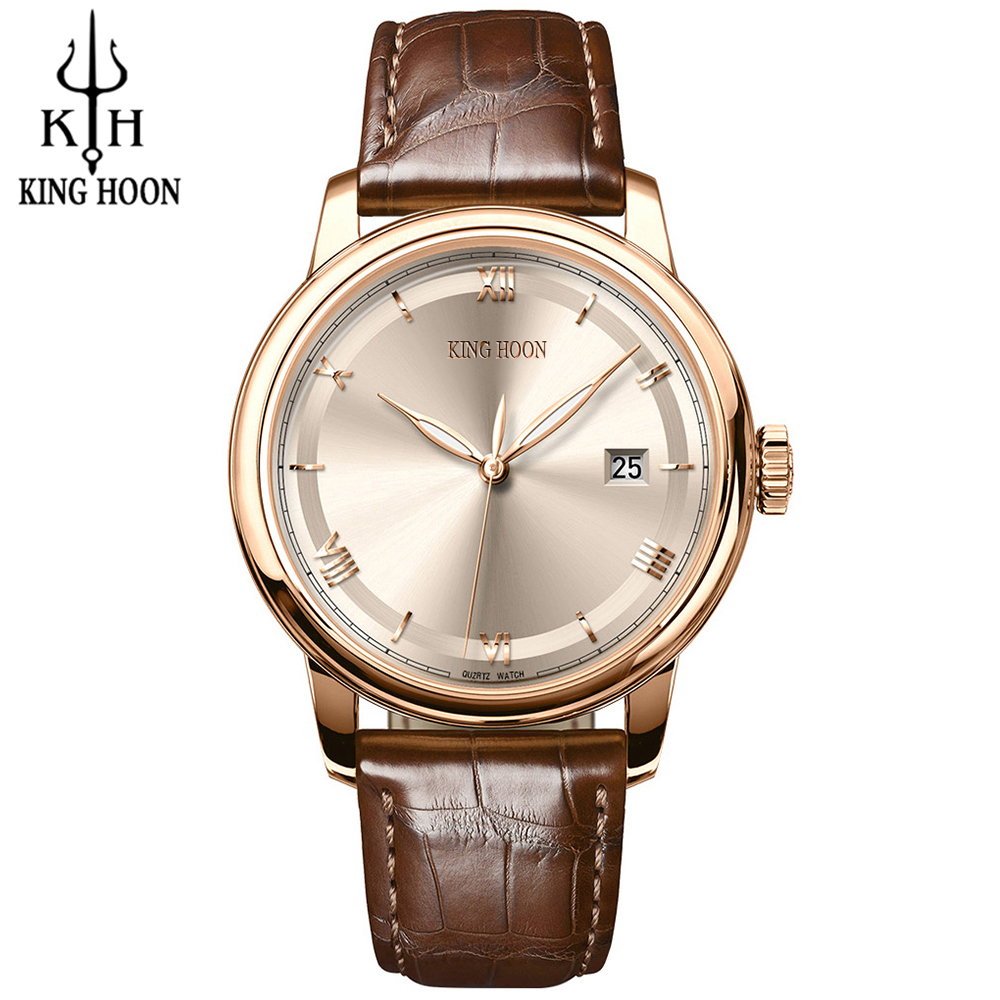 Fashion Style KING HOON Mens Watches Top Brand Luxury Leather Quartz-watch Chronograph Sport Men Wrist Watch reloj hombre mens watch top luxury brand fashion hollow clock male casual sport wristwatch men pirate skull style quartz watch reloj homber