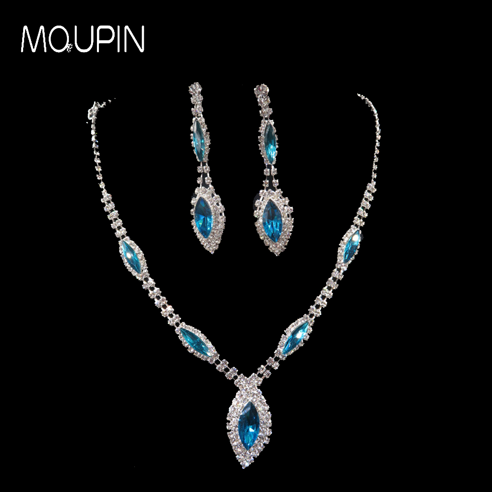 MQUPIN Two colors available Rhinestone Crystal Waterdrop Necklace Earrings Jewelry Sets elegant wonderful women jewelry sets
