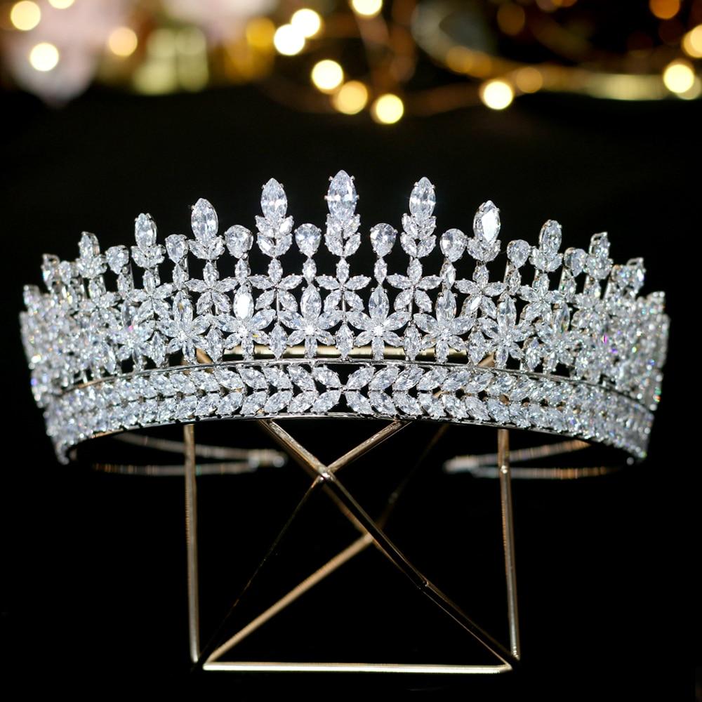 Nueva zirconia cubica tiara nupcial accesorios boda corona de graduacion bola fiesta princesa accesorios para el