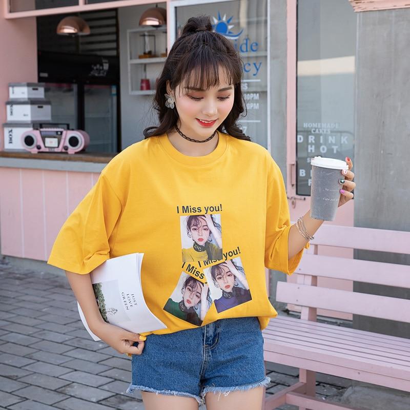 2019 Harajuku Kat Cartoon Katoen Leuke Korte Mouwen T-shirt Vrouwelijke Zomer Mode Bf Paar Grote Omvang S-l Casual Nieuwe T-shirt Op Reis