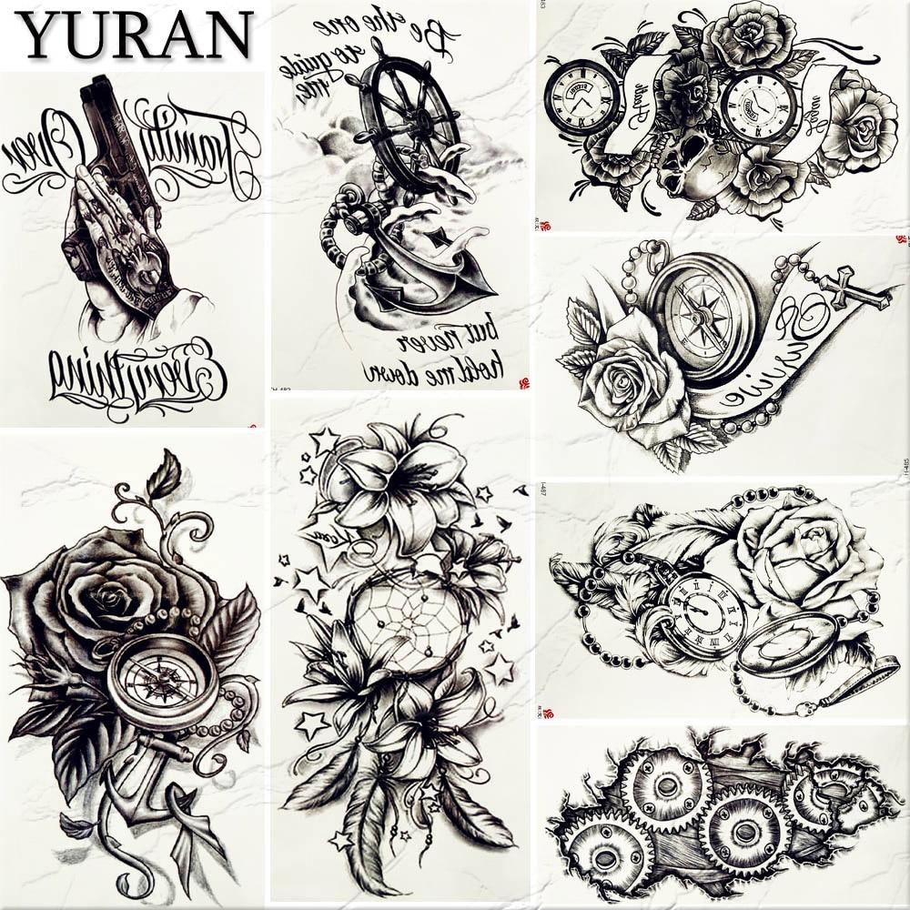 Anclas De Tatuajes Para Mujer €0.82 23% de descuento estilo retro punk mujeres sexy tatuaje grande  pegatina negro falso pirata ancla atrapasueños tatuajes temporales flor  tatuajes