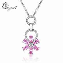 lingmei DropShipping Pretty Lovely Flower 925 Silver Jewelry Red & White Pink CZ Pendant Necklace Chain Gift