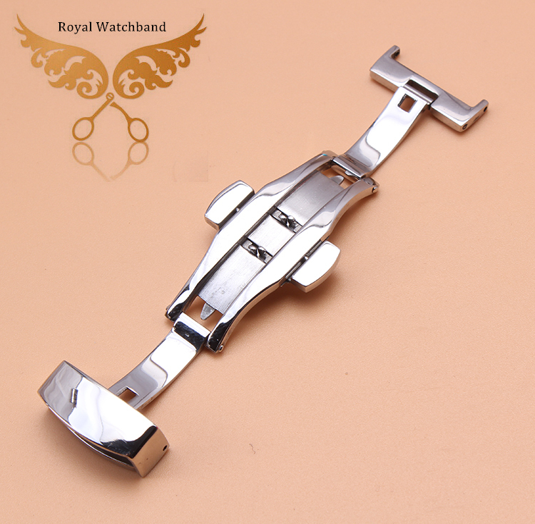 New Silver Deployment Butterfly Clasp WATCH Buckle Stainless Steel Leather Strap Band 16mm 18mm 20mm 22mm купить