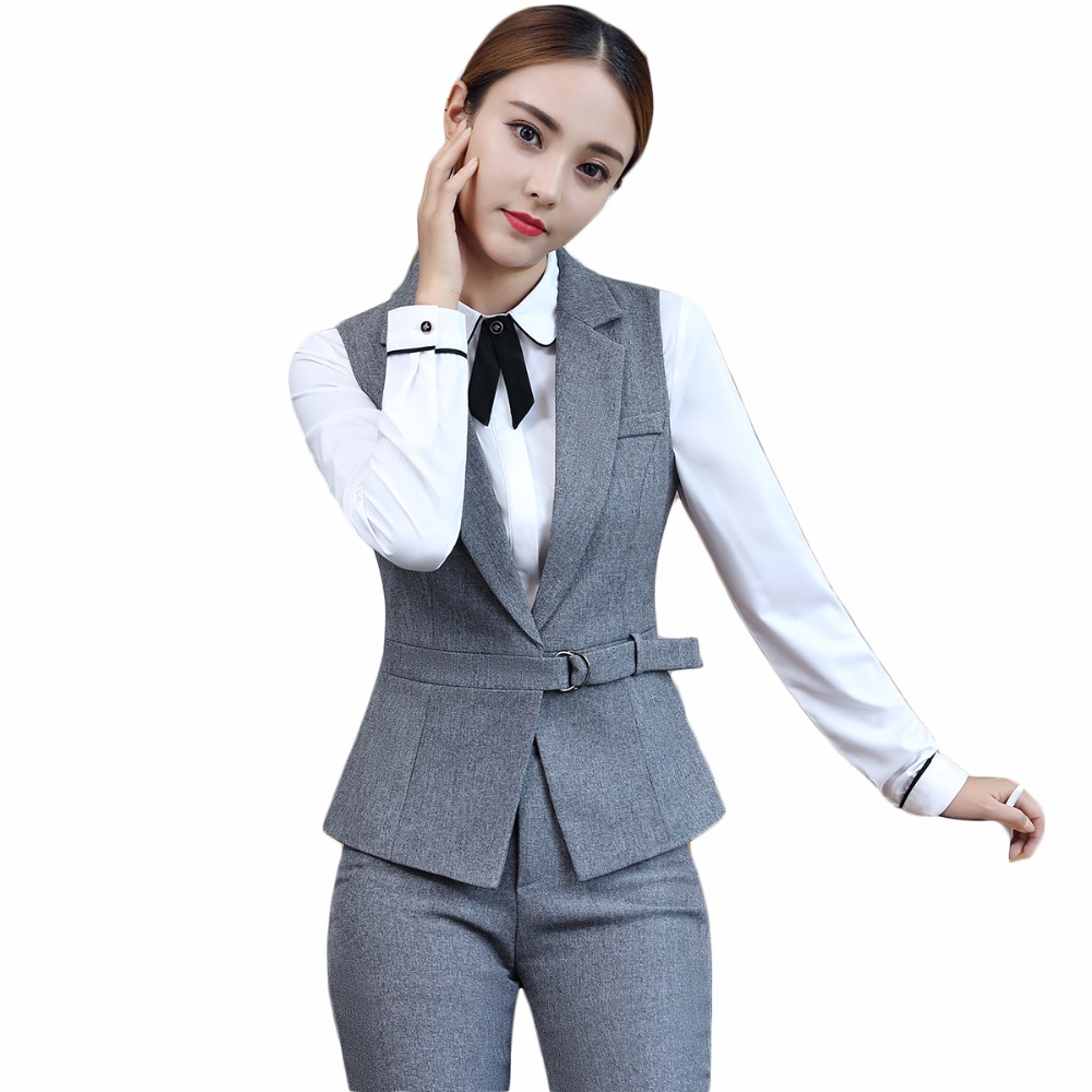 New 2018 2 Piece Set Elegant Pant Suit Size S 4XL Waistcoat Belt Gray Vest Women