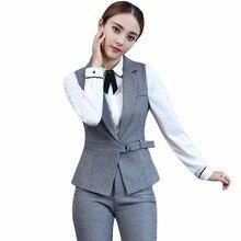 New 2017 2 Piece Set Elegant Pant Suit Size S-4XL Waistcoat Belt Gray Vest Women Sleeveless Jacket Blazer Office Lady Work Wear