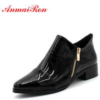 ANMAIRON Fashion Ladies Flats Shoes Woman Pointed Toe Zipper Oxfords Shoes Women Casual Black Wine red Low Heel Shoes Size 43