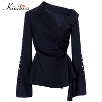 Kinikiss 2017 spring female blouse blue pleated button flare sleeve blouse shirt summer women tops fashion elegant sexy blouse