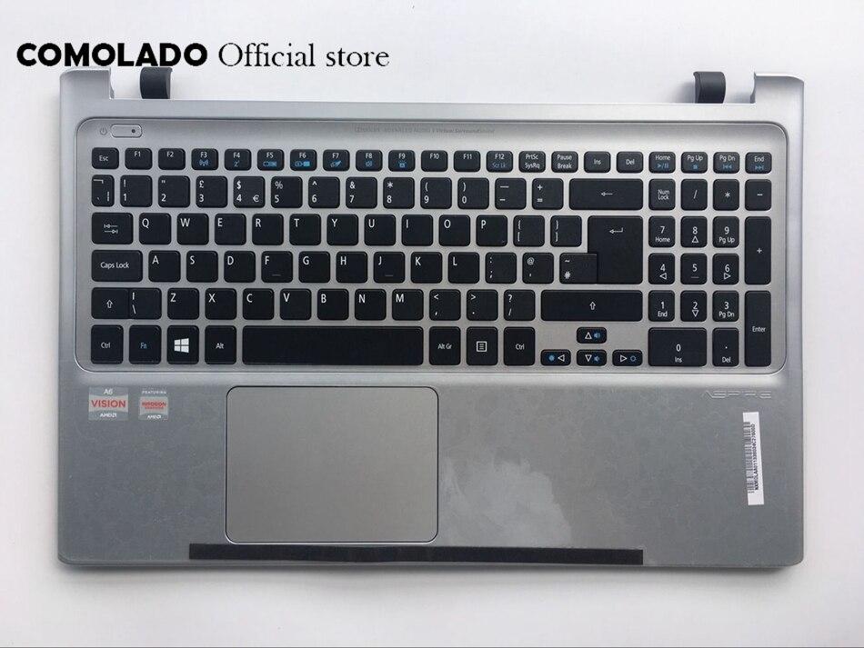 UK Laptop Keyboard For Acer Aspire Acer V5-551G V5-551 with sliver C shell Cover backlit Keyboard UK Layout