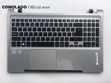 UK Laptop Keyboard For Acer Aspire Acer V5-551G V5-551 with sliver C shell Cover backlit Keyboard UK Layout