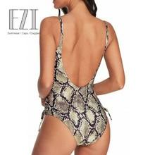 JULY SAND Sexy One Piece Swimsuit Snake Skin Backless Swimwear Women 2019 New Plus Size S-2XL