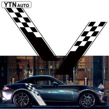 car stickers 2PC cool racing grid stripe styling side door side body graphic Vinyl  decals custom for mazda mx-5 car styling racing sticker body waist car door side scratches decorative decals hood stickers for ford vw bmw audi mazda subaru